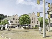 Aystetten: Wasserspiel und Festplatz für die Ortsmitte