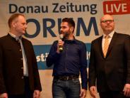 Podiumsdiskussion in Höchstädt: Bürgermeisterkandidaten  Matthias Letzing und Gerrit Maneth stellten sich den Fragen