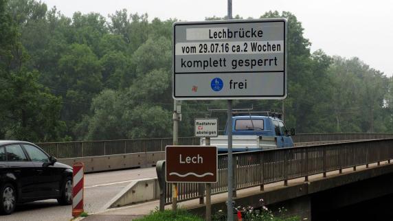Donau-Ries: Sperrung der B16-Lechbrücke sorgt für große Umwege