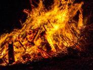 Tapfheim-Donaumünster: Funkenflug setzt Holzlager in Flammen