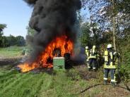 Donauwörth: Traktor brennt vollständig aus