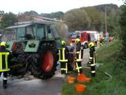Marxheim-Graisbach: Graisbach: Traktor gerät in Brand
