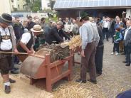 Heimatgeschichte in Baindlkirch: Beim historischen Dreschen fließt der Schweiß