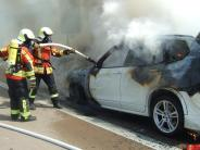 Kreis Günzburg: Auto brennt auf der A8 aus