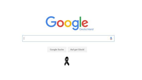 Google: Mit einer Trauerschleife gedenkt Google der Opfer in München