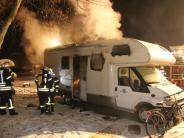 Nördlingen: Toter in brennendem Wohnmobil entdeckt