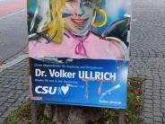 Augsburg: Warum CSU-Politiker Volker Ullrich über diese Plakat-Bemalung lacht