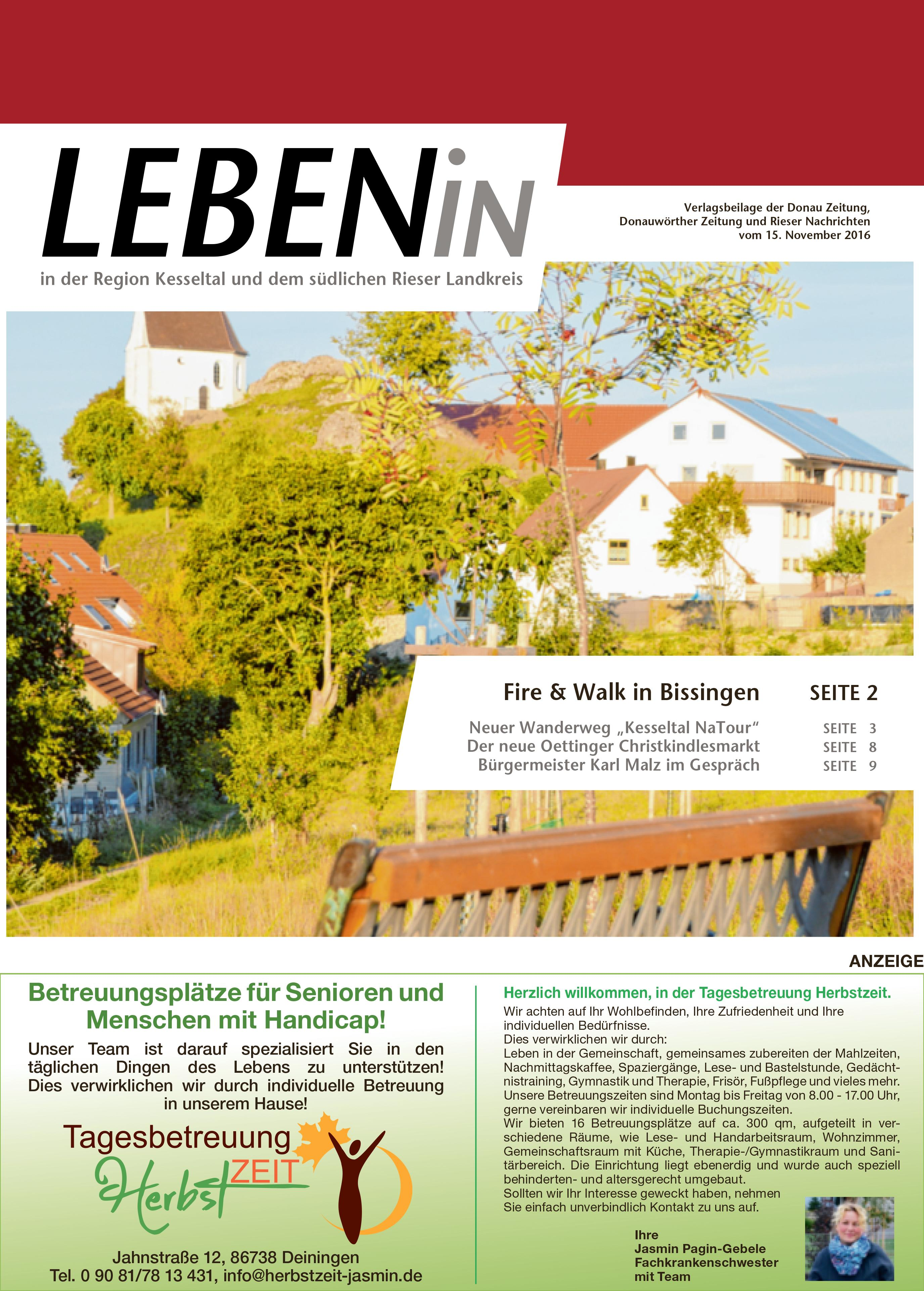 14.11.2016: Leben In: Für die Region Kesseltal und dem südlichen Rieser Landkreis