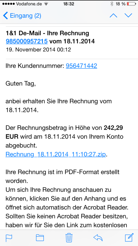 phishing vorsicht trojaner e mails mit gef lschter 1 1 rechnung im umlauf digital. Black Bedroom Furniture Sets. Home Design Ideas