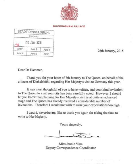 bayern: dinkelsbühler bürgermeister lädt queen ein: antwort aus, Einladung