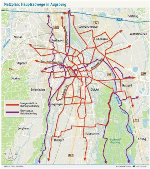 augsburg l chriges radnetz in augsburg das ist f r fahrradfahrer geplant lokales augsburg. Black Bedroom Furniture Sets. Home Design Ideas