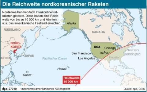 Nordkorea plant offenbar vier Raketenstarts in Richtung US-Insel Guam