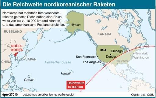 Nordkorea plant offenbar vier Raketenstarts in Richtung Guam