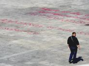 Münsterplatz: Gesprühter Protest