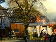 Rennertshofen: Stadel in Rennertshofen fängt Feuer