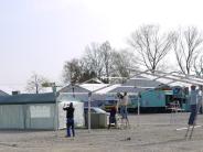 Freizeit: Gewerbemesse wird aufgebaut