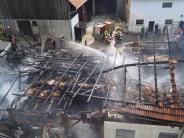 Ehekirchen-Buch: Stall in Buch steht in Flammen