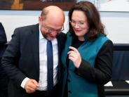 «Spekulationen sind Unsinn»: Nahles steht zu Schulz: Keine Kandidatur für SPD-Vorsitz
