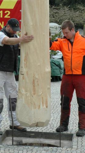 Maibaummeister Ulrich Sommer (rechts) und Andreas Hieble leiten den am Kran hängenden Maibaum in die Hülse (Bild links). Zunft- und Vereinswappen schmücken den Stamm (Bild rechts).